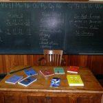 黒板と勉強道具